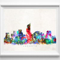 Jakarta Skyline Print, Indonesia Print, Jakarta Poster, Cityscape, Watercolor Painting, Wall Art, Decor, Dorm Decor, Christmas Gift