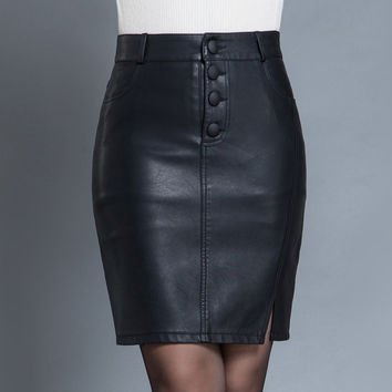 Women Skirts Winter Fashion Black PU Leather Skirts Women High Waist Slit Package Hip Pencil Skirt Plus Size Office Skirt
