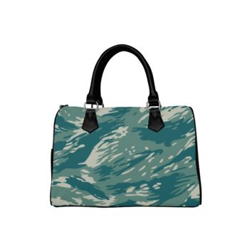 Personalized Women Bag Blue And Green Camo Boston Top Handbag