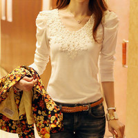 Brand Spring Summer New Women's Casual Shirt Lace Tops Cute Elegant Long Sleeves Blouses