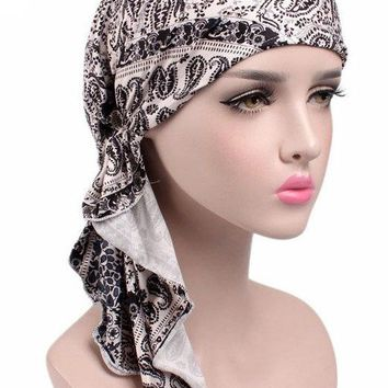 NEW Pre Tied Bandana head wrap Chemo cap  Head Scarf Hair Cover Sleep long tails Turban