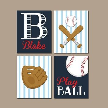 BASEBALL Wall Art, Baseball Theme Decor, Canvas or Prints, Baby Boy Sports Nursery Decor, Boy Sports Bedroom Wall Decor, Set of 4 Wall Decor