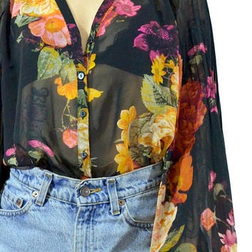 vintage sheer floral blouse poet puff sleeve gauzy boho hippie button up top romantic shirt gypsy black rose print small