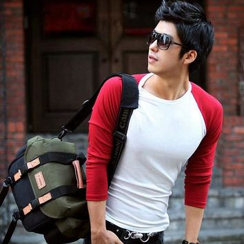 Male red and white color block slim o-neck long-sleeve T-shirt basic shirt male tight-fitting low collar t shirt