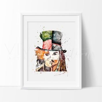 Johnny Depp Watercolor Art Print