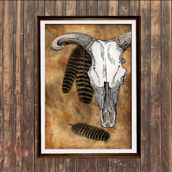 Bull skull print Skeleton art Animal poster Modern decor SH4