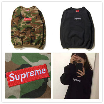 """Supreme"" Fashion Casual Male Female Large Size Camouflage Letter Print Solid Color Classic Embroidery Round Neck Long Sleeve Student Couple Cotton Sweater"