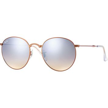 Ray Ban Round Metal Folding Sunglass Bronze Silver Mirrored RB 3532 198/9U