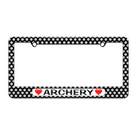 Archery Love with Hearts License Plate Tag Frame Polka Dots Design - No. 1