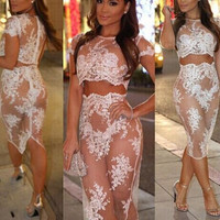 White Crochet Lace Two Piece Set