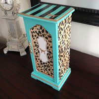 Victoria's Secret Inspired Vintage Jewelry Box Leopard Aqua