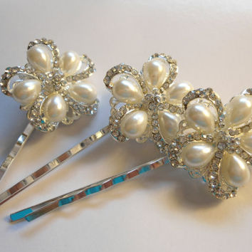 Bridal Hair Pin, Pearl Rhinestone Bridal Hair clip, Flower Wedding Hair pin, Wedding Hair Piece, Bridal hair accessory - SET OF 3