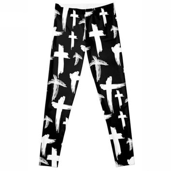 Cross - Black And White - Women's Leggings
