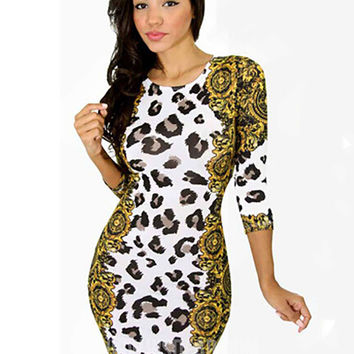 Leopard Print Half Sleeve Bodycon Mini Skirt
