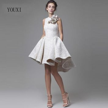 Vintage Sleeveless Lace High Low Krikor Jabotian Evening Dress 2017 New Ball Gown Short Prom Gowns with Flowers