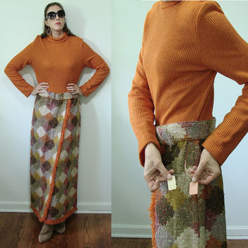 Vintage 1970s NOS Lane Bryant TALL SHOP Pumpkin Orange & Carpet Bag Dress Large