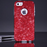 Flash Sale - Otterbox iPhone 5 / 5S Case Cover Custom Red/White Glitter Otterbox Commuter Series