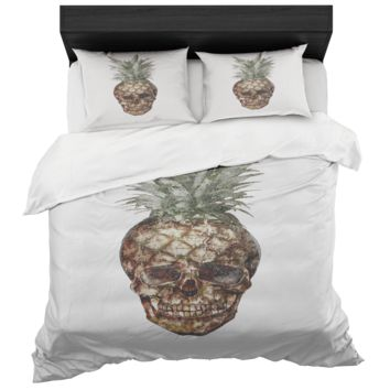 Pineapple Skull Bed In A Box Duvet Cover Standard Pillow Sham Bedroom Set