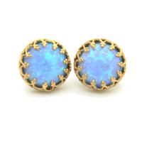 Opal Stud earrings Blue Aqua bridesmaids gift - 14k Gold filled Crown settings seafoam Opal stone.