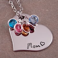Mom Heart Birthstone Necklace - Mixed Metal For Moms - For Moms - Moms and Grandmoms at Sweet Blossom Gifts