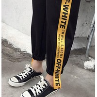 OFF WHITE Popular Women Casual Yellow Letter Stripe Casual Pants Sweatpants