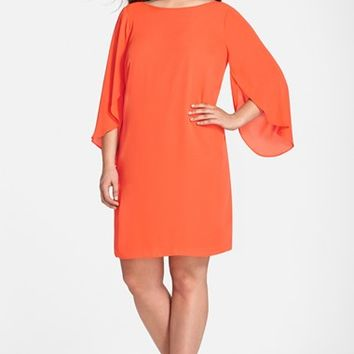 Plus Size Women's London Times Tulip Sleeve Georgette Shift Dress,