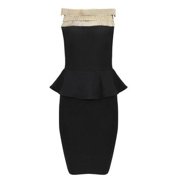 Posh Girl Black Bodycon Peplum Dress