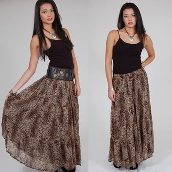Vintage LEOPARD Print Maxi Skirt Long Crinkle Boho Chic Animal Print by PHOOL