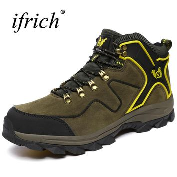 2017 Winter Men's Hiking Boots With Fur High Top Outdoor Climbing Trekking Shoes Army Green Hunting Shoes Men Leather Trainers