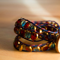 Triple wrap leather bracelet with red and aqua glass beads