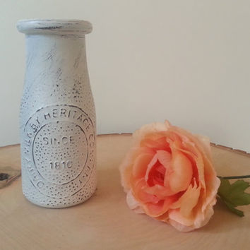 Small Milk Jars, Distressed Cottage Chic Milk Jar Vase