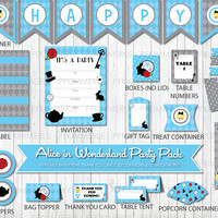 Alice in Wonderland, Birthday Party Decorations, DIY Party, Girl, Princess party, Blue, Princess Birthday, Polka Dots, Disney, Little Girl