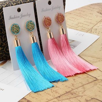 Bohemian Long Tassel Earrings for Women Vintage Statement Drop Earrings Pink Blue Black Green pendientes Jewellery Fashion 2018