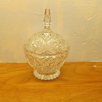 VINTAGE CRYSTAL CANDY DISH WITH SAW TOOTH EDGE AND LID
