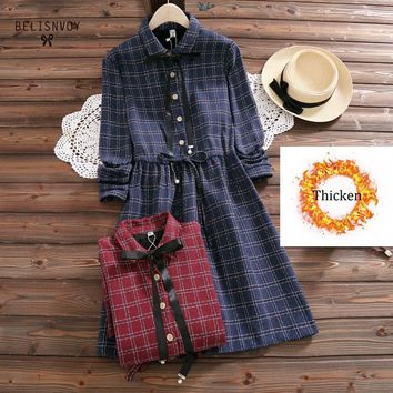 Female Vintage Vestidos 2018 New Autumn Winter Mori Girl Dress Women Long Sleeve Plaid Print Plus Velvet Dresses M-xxl Clothes