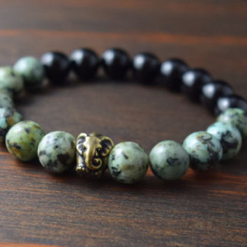 Opposites Attract! African Turquoise and Onyx Bracelet. Elephant Bracelet. Men's Fashion. Men's Yoga Bracelet. Lotus & Lava Bracelet.