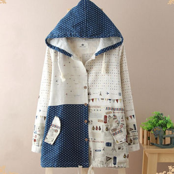 autumn Graffiti print free shipping hooded vintage canvas jacket cartoon intresting pattern outerwear dropshipping