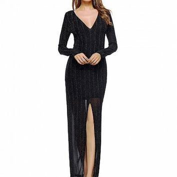 Black Plunge Thigh Split Long Sleeve Maxi Dress And Lining
