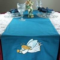 Angel Table Runner Scarf 70 x 13 in Teal