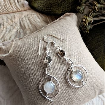 Artisan Crafted Unique Sterling Silver Moonstone Smoky Quartz Dangle Earrings