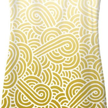 Ombre yellow and white swirls doodles Simple Dress