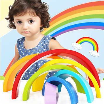 Wooden block Kid's Soft Montessori Colorful Rainbow Wooden Blocks Toy Set Classic toys high quality gift for infant MU990071