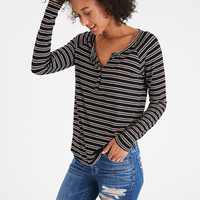 AEO Soft & Sexy Long-Sleeve Henley T-Shirt, Black