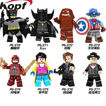 PG8088 Super Heroes X-Men Panther Batman Jubilee Marvel Cowboys America Red Flash Building Blocks Collection Children Gift Toys