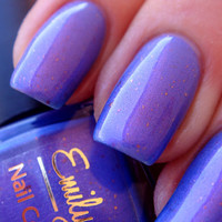 "Nail polish - ""Split Personality"" pink/purple duo chrome with flakies"
