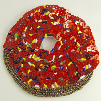 Donut with Red Sparkely Frosting 4""