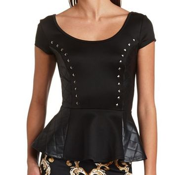 QUILTED FAUX LEATHER SIDE PEPLUM TOP