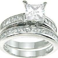 Princess Cut Wedding and Engagement Ring Set Sterling Silver (5)