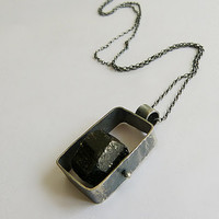 S A L E ! black tourmaline pendant , sterling silver, square necklace