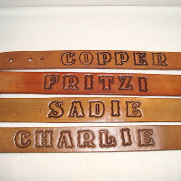 "1"" Handmade Custom Made Leather Dog Collars"
